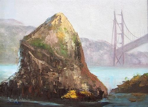"""Rock and San Francisco  Bridge II  Barbara Haviland"" original fine art by Barbara Haviland"