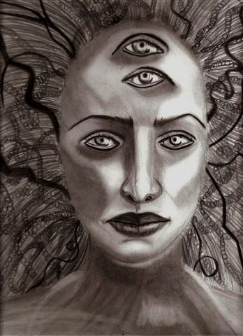 """Self Portrait as Medusa"" original fine art by Terri Brown-Davidson"