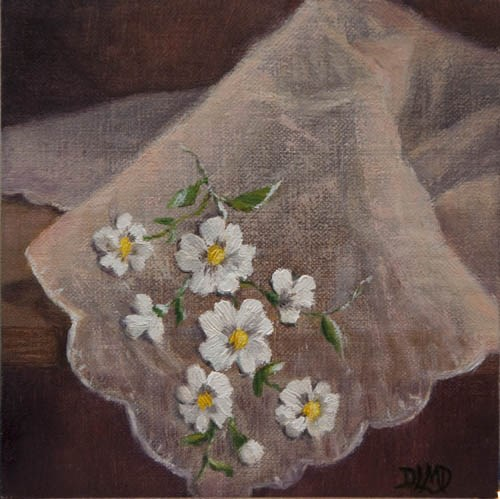 """Sheerly Pink and Daily Sketch: Embroidered Handkerchief"" original fine art by Debbie Lamey-Macdonald"