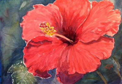 """Day 14 - Blood-Red Hibiscus"" original fine art by Lyn Gill"