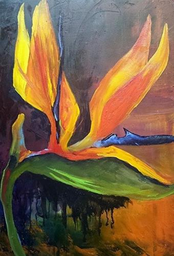 """Here I Am   Bird of Paradise oil painting"" original fine art by Barbara Haviland"
