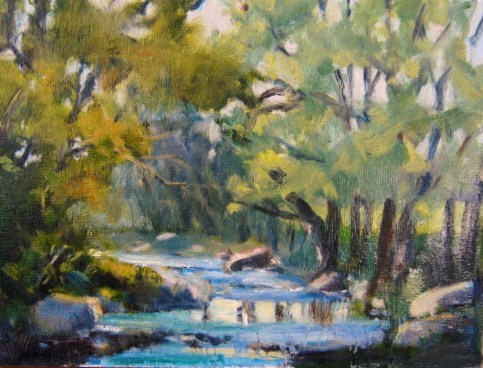 """Water, Rocks, Trees"" original fine art by Connie Snipes"