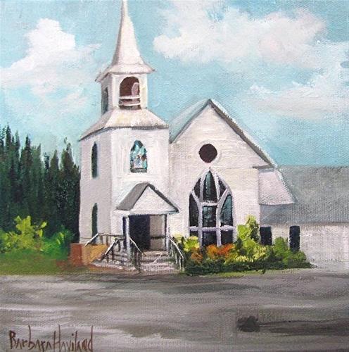 """White Church"" original fine art by Barbara Haviland"