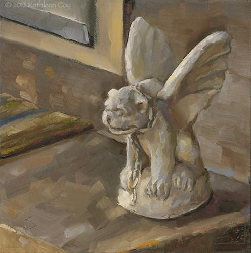 """Doorstep Guardian"" original fine art by Kathleen Coy"