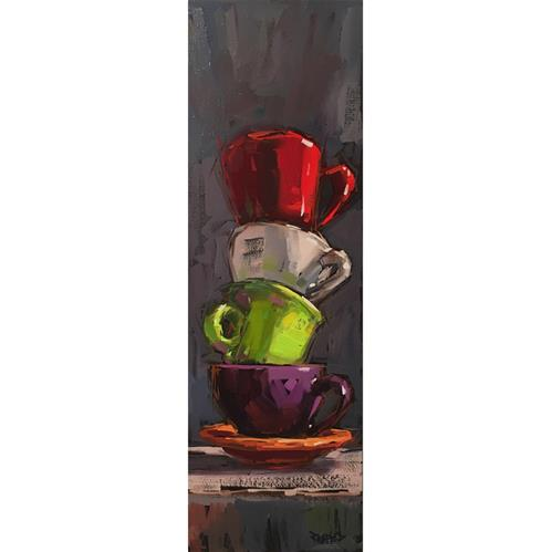 """Stacked Cups"" original fine art by Cathleen Rehfeld"
