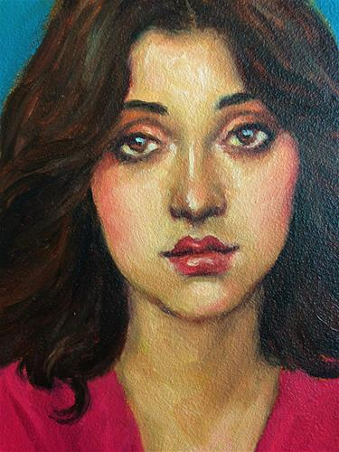 """Portrait of a Girl in Pink"" original fine art by Pat Kelley"
