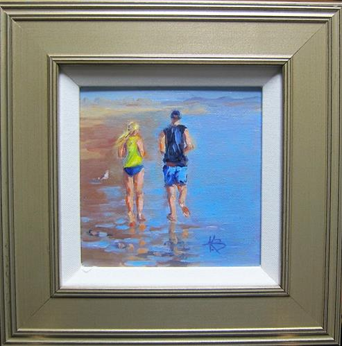 """Sunset Jog"" original fine art by Kathy Bodamer"