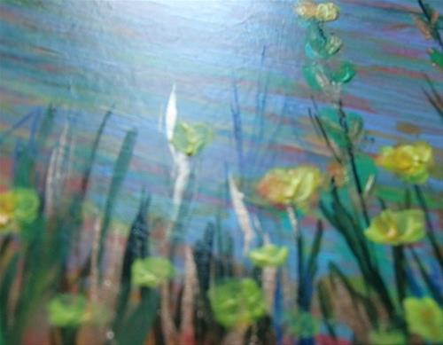 """3124 - River Flowers with mat"" original fine art by Sea Dean"