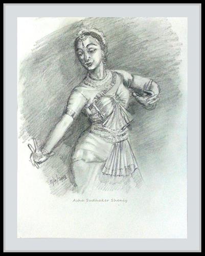 """Indian Dancer 7"" original fine art by Asha Shenoy S"