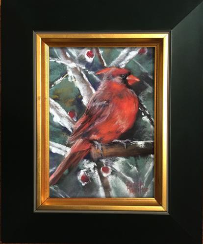 """Winter Cardinal"" original fine art by Pamela Hamilton"