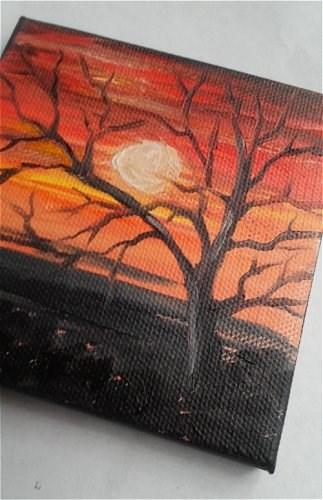 """Mini Oil Painting Sunset"" original fine art by Camille Morgan"