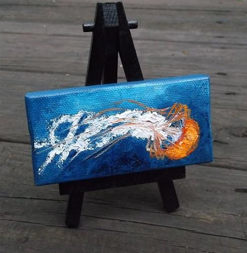 """Mini Orange Box Jellyfish"" original fine art by Camille Morgan"