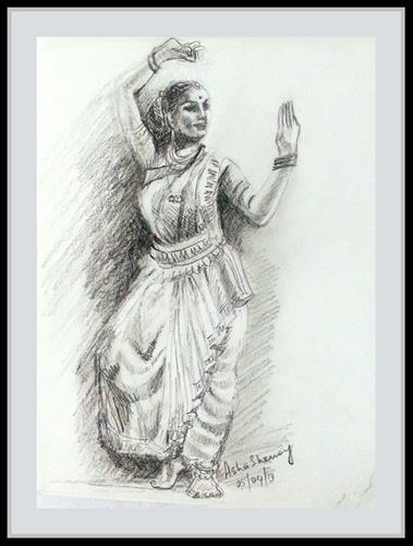 """Indian Dancer 6"" original fine art by Asha Shenoy S"