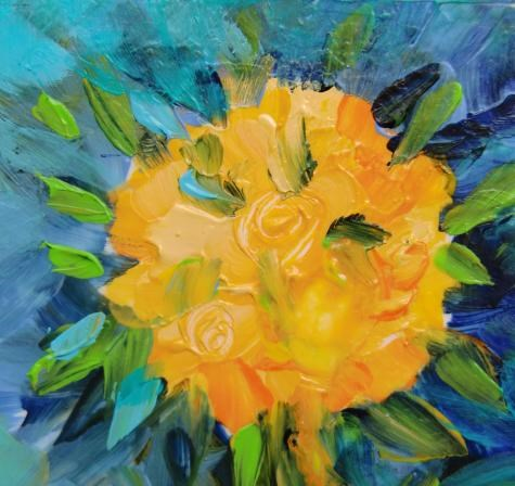 """3158 - Double Matted - Topiary Roses"" original fine art by Sea Dean"