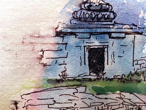 """Hampi ruins"" original fine art by Asha Shenoy S"