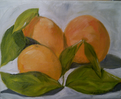 """oranges with leaves"" original fine art by Jo Allebach"