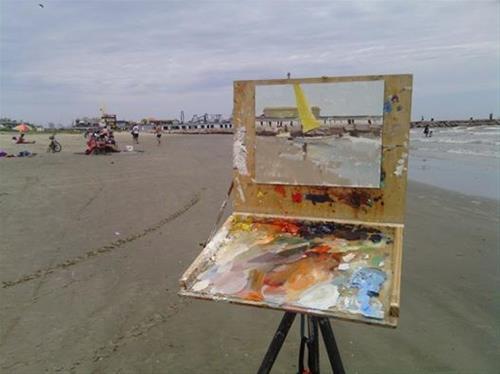 """Catamarran on the Beach"" original fine art by Randall Cogburn"