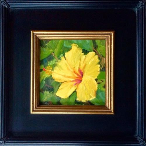 """Yellow Hibiscus en Plein air"" original fine art by Daniel Fishback"