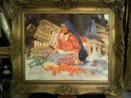 """""""woman in red blouse selling fruit"""" original fine art by Richard Schiele"""