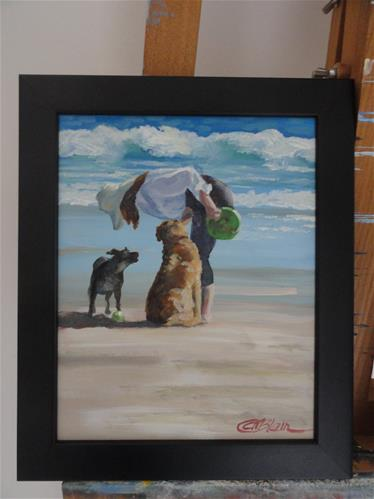 """Dogs on the Beach #1"" original fine art by Christine Blain"