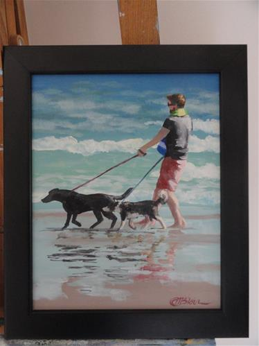 """Dogs on the Beach #3"" original fine art by Christine Blain"
