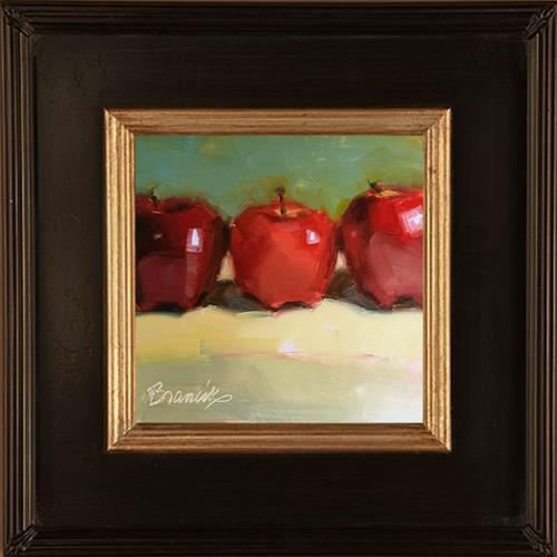"""3 Red Delicious"" original fine art by Candace Brancik"