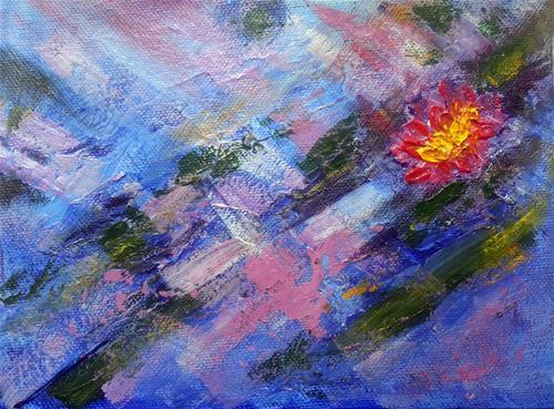 """A flash in the pond"" original fine art by Asha Shenoy S"