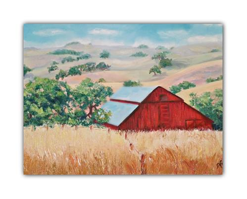 """RED BARN"" original fine art by Dana C"