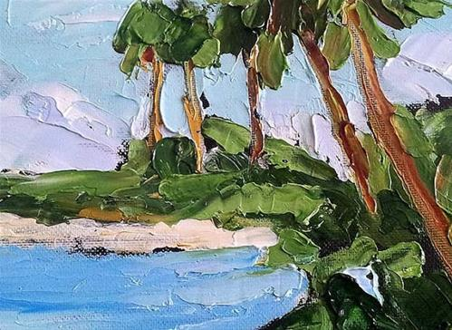 """Florida Gulf Beach Palms"" original fine art by lynne french"