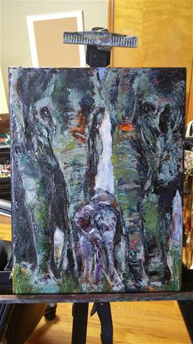 """Elephant family"" original fine art by Sun Sohovich"