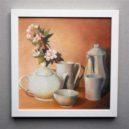 """For Tea cup Challenge - White dishes"" original fine art by Olga Touboltseva-Lefort"