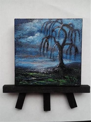 """""""Tree Silhouette Weeping Willow"""" original fine art by Camille Morgan"""