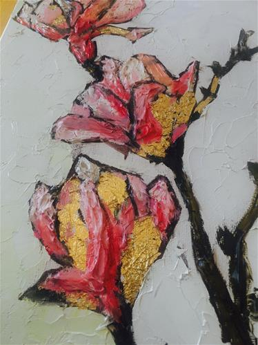 """Gold Magnolias"" original fine art by Piya Samant"