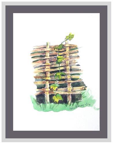 """The creeper on fence"" original fine art by Asha Shenoy S"