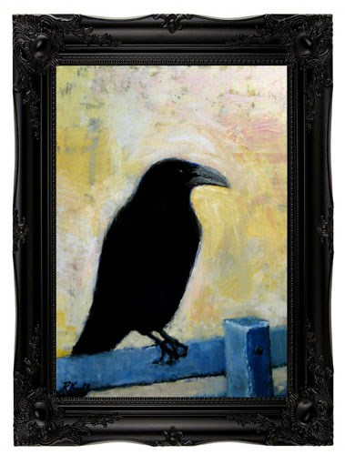 """A Raven on a Blue Fence"" original fine art by Bob Kimball"