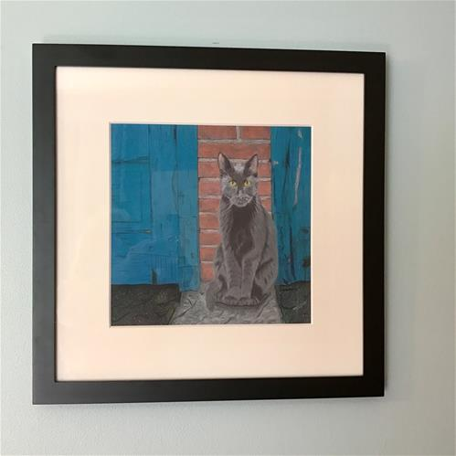 """""""Alley Cat (matted and framed)"""" original fine art by Arlene Crafton"""