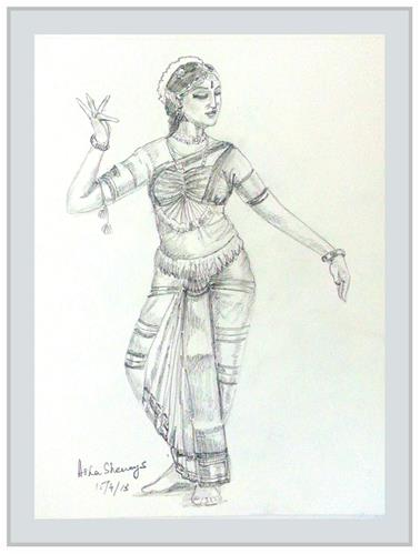 """Indian Dancer 8"" original fine art by Asha Shenoy S"