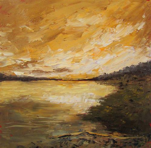 """8 x 8 inch oil Sunset on The River #2"" original fine art by Linda Yurgensen"