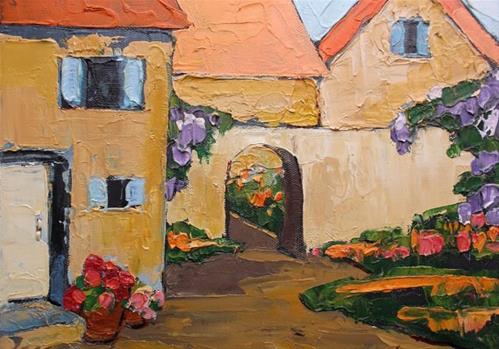 """Lynne French PROVENCE Courtyard GARDEN Villas Impressionist Landscape Art 12x12"" original fine art by lynne french"