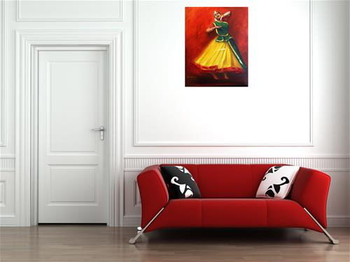 """Indian Kathak Dancer-3"" original fine art by Asha Shenoy S"