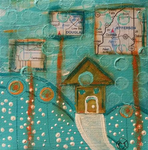 """""""Turquoise 5 House # 134"""" original fine art by Christy Tremblay"""