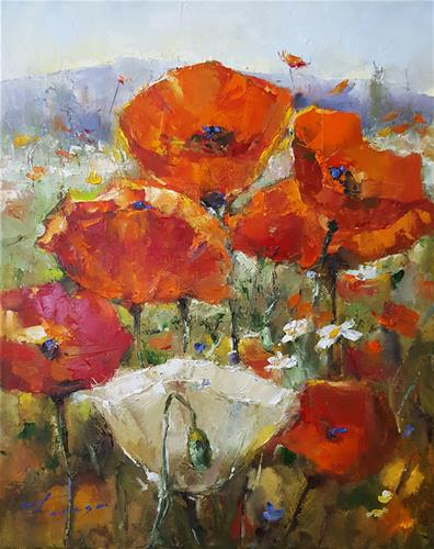 """Poppy and nature.."" original fine art by Teresa Yoo"
