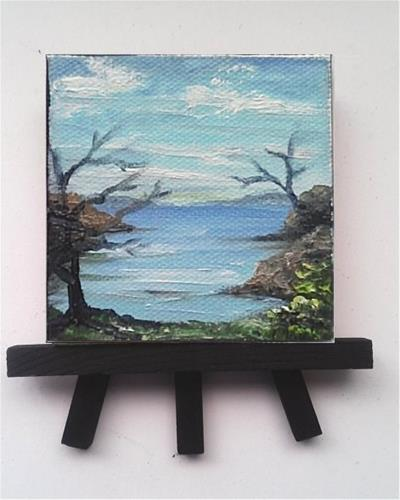 """Mini Oil Painting Sea, Trees"" original fine art by Camille Morgan"
