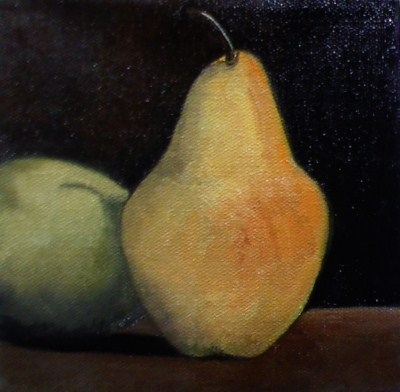 """Two Pears"" original fine art by Judith Anderson"