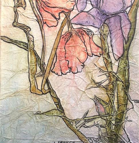 """Zen Inspired Poppies & Iris"" original fine art by lynne french"
