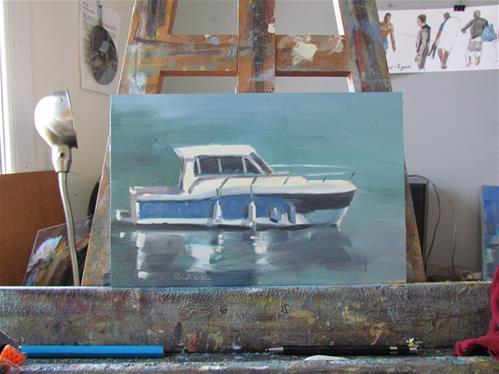 """""""bateau à moteur"""" original fine art by gilles Poulizac"""