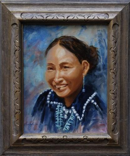 """NAVAJO GIRL SMILING"" original fine art by Dj Lanzendorfer"