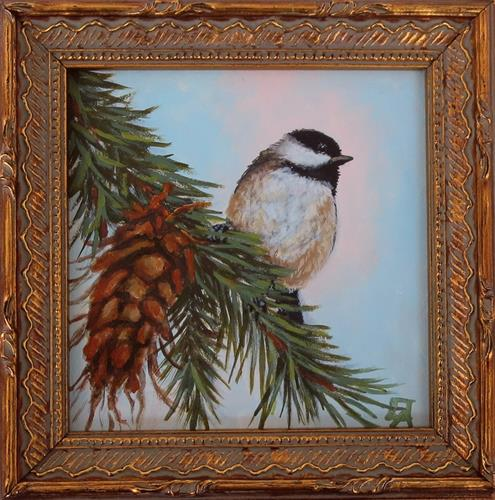 """Chickadee & Pinecone-Framed"" original fine art by Elizabeth Elgin"