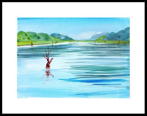 """Serene lake"" original fine art by Asha Shenoy S"