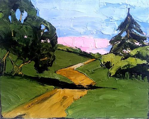 """California Hills & Path"" original fine art by lynne french"